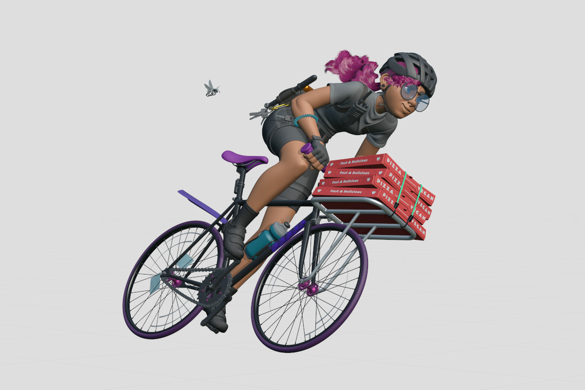 3d illustration of a girl delivering vegan pizza on a fixed gear bike followed by a bee